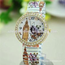 Reloj de señoras de la flor de la torre de campana de la venda de la aleación de la alta calidad 2014 con el diamante