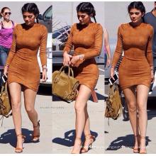 Meilleure qualité polyester coloré lady casual robe mode courtes femmes de sexe robe