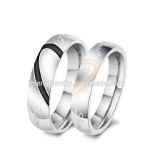 Barato anillo de parejas personalizadas joyas, anillo de corazón de plata