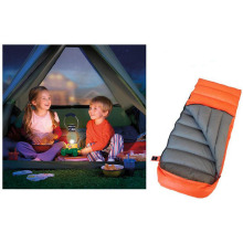 Child Models Outdoor Camping Sleeping Bag Duck