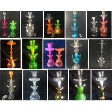 Colorful Glass Hookah Wholesale Factory Prix Enjoylife avec étui en cuir et lumière LED