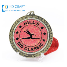 OEM design custom metal elegant colorful rainbow pattern enamel glitter epoxy singing dance medal