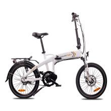 Ebike plegable de 20 pulgadas con motor medio y horquilla de suspensión 250w bicicleta eléctrica