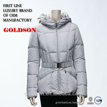 2016 Fabricación Chino Corto Cálido Mujeres Blancas Invierno Chaqueta con Capucha