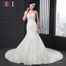 Q-003 Sexy Tulle Lace Appliques Beaded 2016 Mermaid Wedding Dress