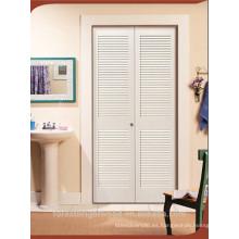 Blanco pintado puerta de persiana de madera con listón de MDF
