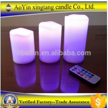 3 peças de âmbar cintilando chama luz LED velas