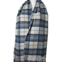 100% weiche Wolle Elfenbein blauen Plaid gewebten Schal