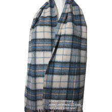 100% мягкая шерсть слоновая кость синий плед тканый шарф