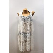 Blanco Vestidos largos elegantes de la playa de los coverups de la raja de la gasa