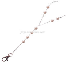 Sundysh Pearl Lanyard, Fashion Simple Lariat White Pearl Beaded Lanyard For ID Card Badge Holder