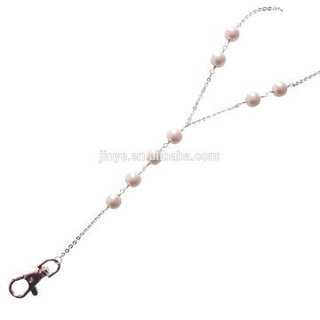 Sundysh Перл ремешок, мода простой Лариат Белый жемчуг бисера ремешок для ID знак держатель карты