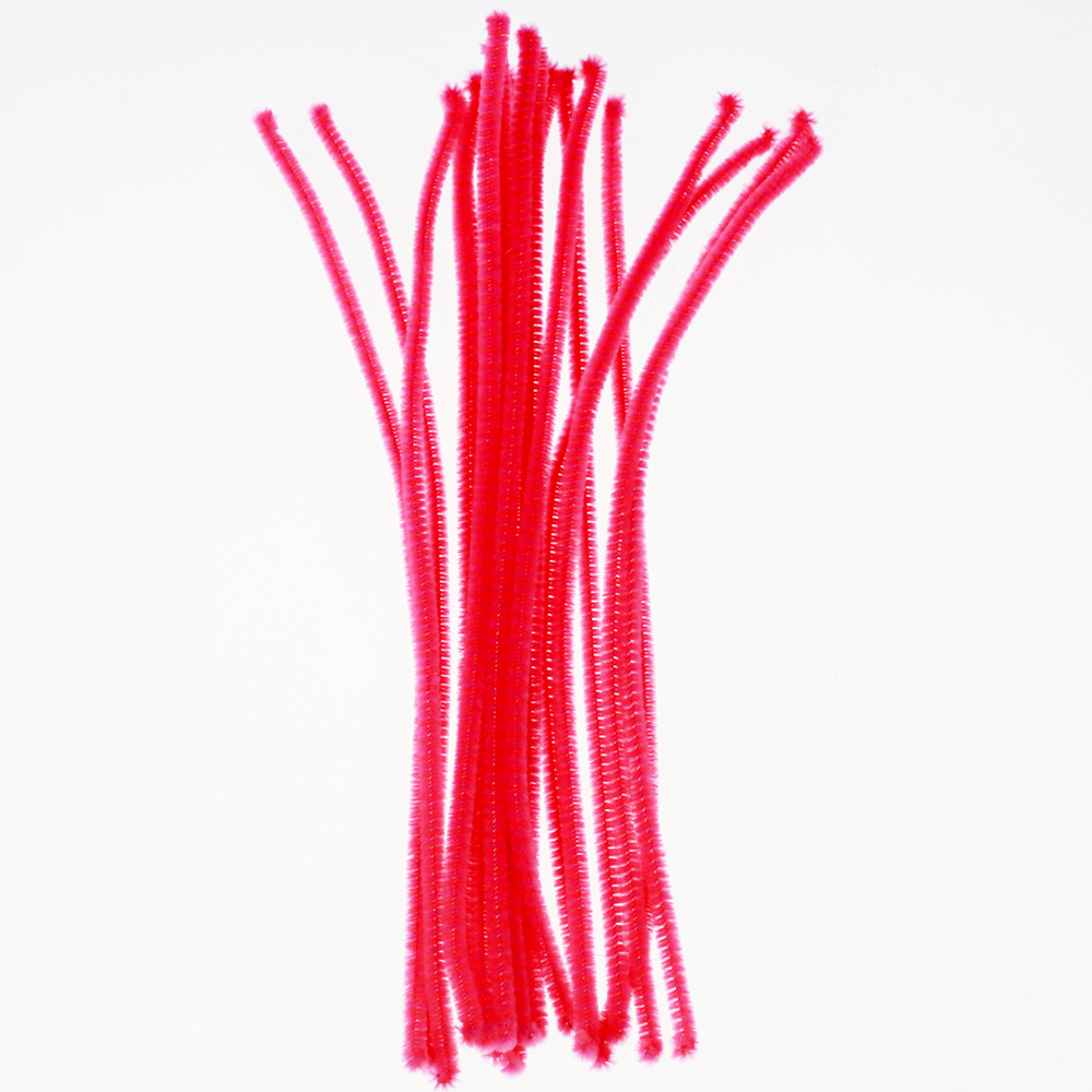 Kids educational toys fuzzy sticks chenille wire stem, red