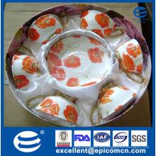Stock de fábrica en venta regalo de lujo de oro manejar taza con platillo de té para seis personas