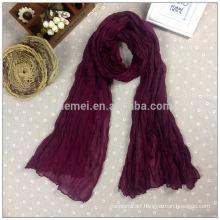Solid color crumple purple long scarf