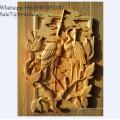 Decoración del hogar hecho a mano colgante de pared tallado paneles de pared de madera lady girl tallado de paneles de madera