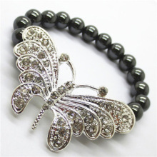 Hematite 8MM Round Beads Stretch Gemstone Bracelet with Diamante alloy big butterfly Piece