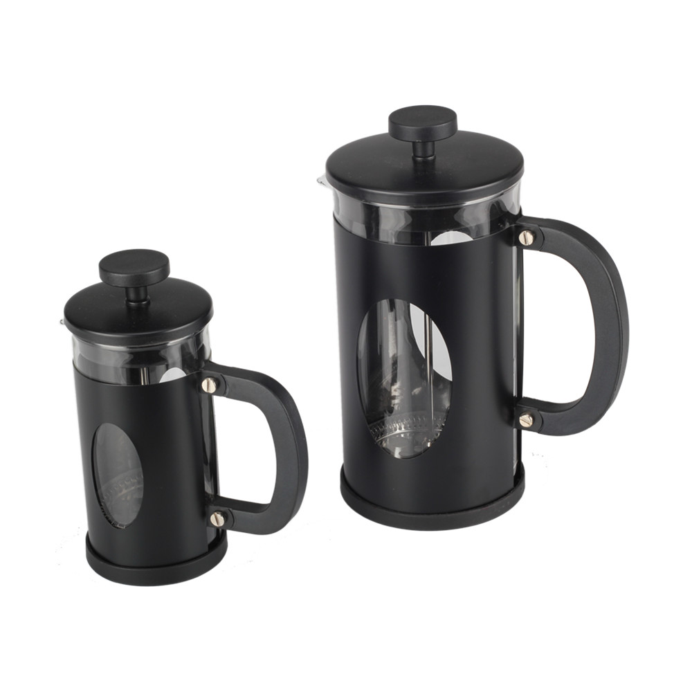 Food Grade Stainless Steel Black Frame Glass French Press