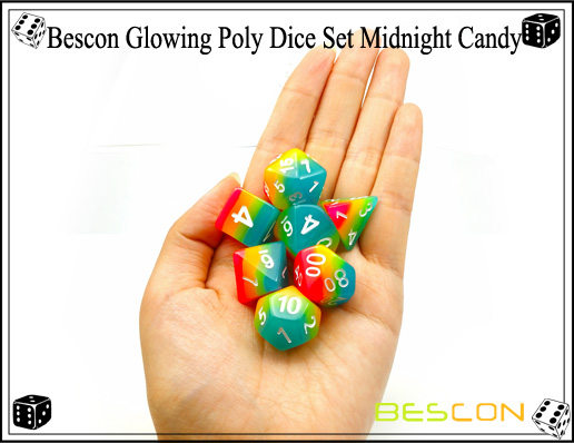 Bescon Glowing Poly Dice Set Midnight Candy-9