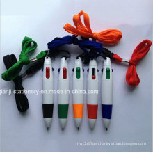 Plastic 4colors Ball Pen with Rope