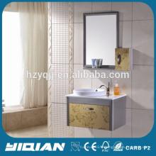 Morden Vanity Mirrored Stainless Steel Ceramic Basin Golden Cabinet de salle de bain