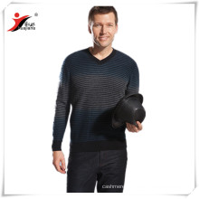 classic strips Men's V neck cashmere sweater