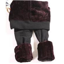 Womens motif velours épais sans soudure Leggings en hiver
