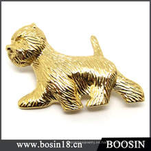 Joyería personalizada 18k Gold Dog Brooch / Animal Brooch