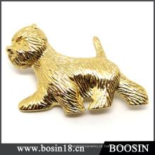 Broche feito sob encomenda do cão do ouro da jóia 18k / broche animal