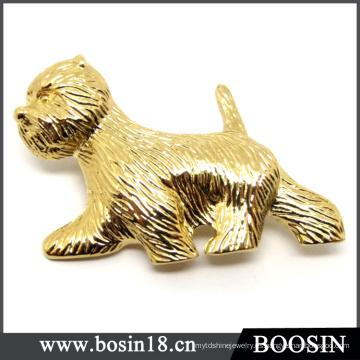 Joyería personalizada 18k Gold Dog Brooch / Animal Brooch
