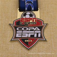Médaille de football sur mesure en argent finie