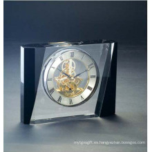Reloj de mesa de cristal mezclado negro y blanco claro