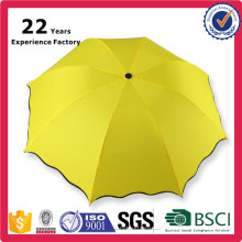 Tri-Folded Yellow Bright Color Love Rain Umbrella With Logo and Words Printing