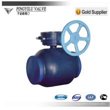Válvula de bola de engranaje sin fin soldada de acero al carbono
