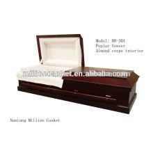 Esquife de funeral personalizado poplar DH-301 folheado e nobre ofício