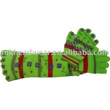 Baumwolle gestrickte Fünf-Zehen-Socke & Handschuh-Set mit schönem Druck