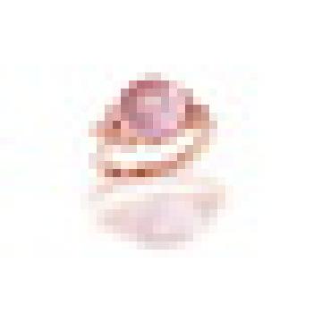 3.20CT Rodada Cut Natural Quartzo Rosa Deixa Flores Anéis 925 Sterling Silver para Mulheres Engagement Jóias Finas