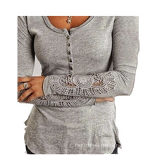 Women′s Clothing Lace Stitching Long Sleeve Knitted T-Shirt Women T Shirt