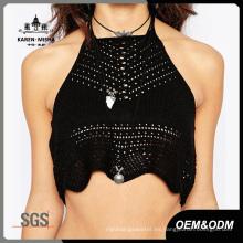 Bikini de cuello alto de ganchillo negro sexy para mujer