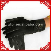 Guantes de ante negro de palma de cuero de piel de oveja de los hombres 2013