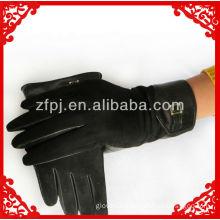 2013 men's sheepskin leather palm black suede gloves