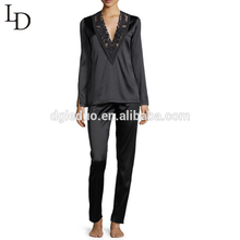 Wholesale china black long sleeve full body women set adult silk pajamas
