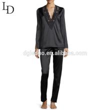 Atacado china preto de manga comprida mulheres de corpo inteiro conjunto de pijama de seda para adultos