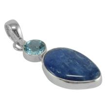 Pendentif en argent sterling 925 en pierres précieuses en kyanite