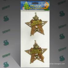 Decoración plástica de la estrella de la Navidad del oro 10cm