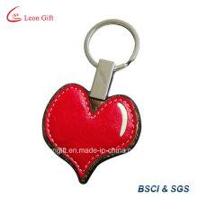 Promoção coração vermelho PU couro chaveiro personalização