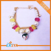 Wholesale New Products Alloy Colorful Crystal Beads Charm Bracelets Bangle