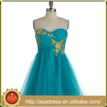 BD83 Elegant Strapless Japan Knee Length Lady Evening Gowns Teal Appliqued Short Maid of Honor Dress