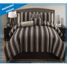 5 Piece Wide Brown Stripe Polyester Comforter Set