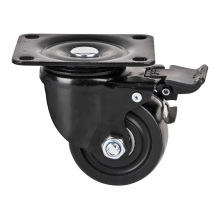 Rodízio e roda de nylon, rodízio de baixa gravidade, giratório com freio, bola dupla Beaing